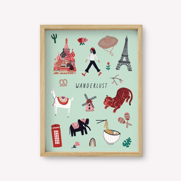 Wall Art Travel Wanderlust 30x40cm