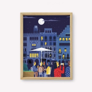 Barcelona Night Travel Wall Art 30x40cm