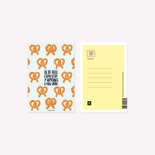Happimess Postcard pretzel New York  10 x 15 cm