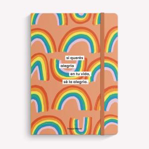 Stitched Notebook A5 Ruled Happimess Sé la Alegría Rainbow