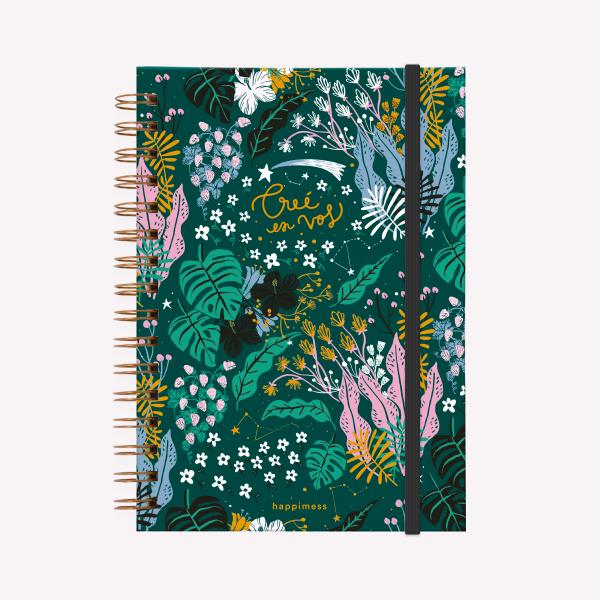 Cuaderno Anillado Believe verde, Happimess Liso
