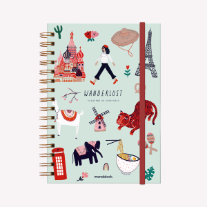 A5 Spiral Wanderlust Viaje Ruled Notebook,