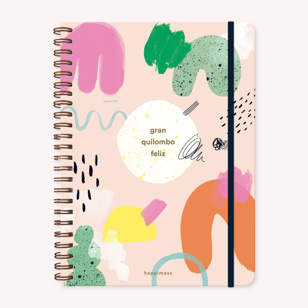 Stitched Notebook A4 Ruled Happimess Quilombo