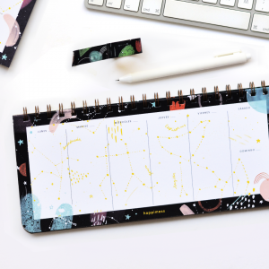 Ringed Weekly Planner 28x12 cm Happimess Universo