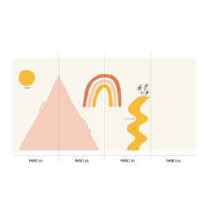 Wallpaper HOPE MOUNTAIN TRIANGLE White - 106 x 350 cm