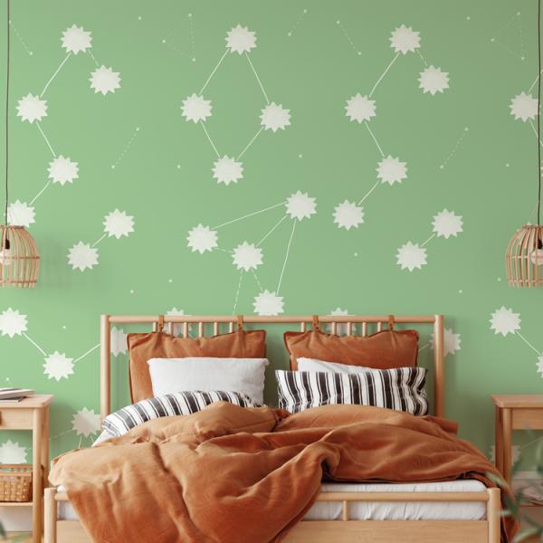 Wallpaper THE SUN Green - 106 x 350 cm