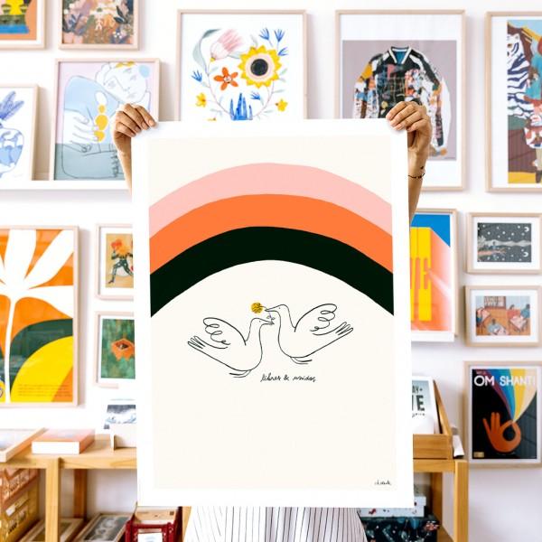 Wall Art Free and United by Vik Arrieta - 50x70 cm
