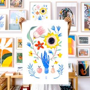 Lámina Floral hand - 50x70 x  Lucilismo