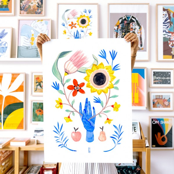Wall Art Floral Hand by Lucilismo - 50x70 cm