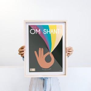 Lámina SHANTI OM fondo negro  x Vik Arrieta - 30x40 cm