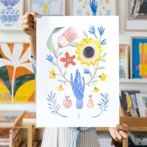 Lámina Galería 30x40cm x Lucilismo - Floral Hand