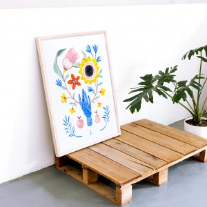 Framed Wall Art Floral Hand by Lucilismo - 50x70 cm