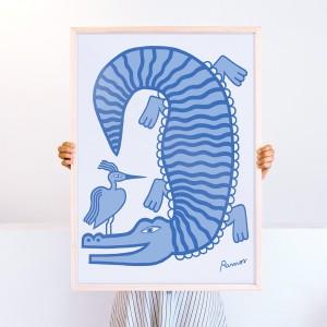 Lámina enmarcada Cocodrilo x Agustina Ramos -  50x70 cm