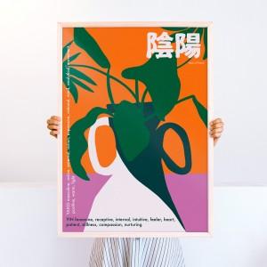 Framed Wall Art Ying Yang by Agustina Basile - 50x70 cm