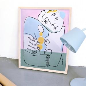 Lámina enmarcada Un Abrazo x Larris - 40x50 cm