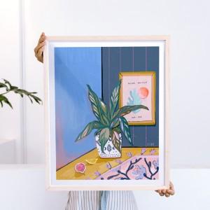 Lámina enmarcada Mi planta y Henri x FIDE - 40x50 cm