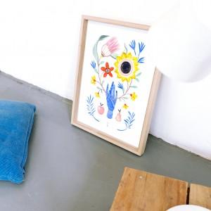 Lámina enmarcada Floral Hand x Lucilismo - 30x40 cm