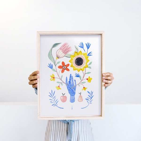 Framed Wall Art Floral Hand by Lucilismo - 30x40 cm