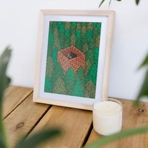 Framed Wall Art Forest by Fede Calandria - 22x28  cm