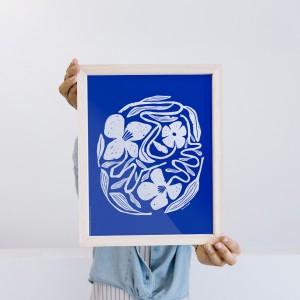 Framed Wall Art Circular Flora by Caribay - 22x28 cm
