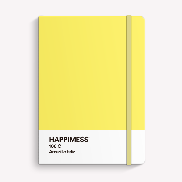 Stitched Notebook A5 Bullet Journal Happimess Amarillo Feliz