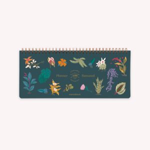 Ringed Weekly Planner 28x12 cm Dark Botanical