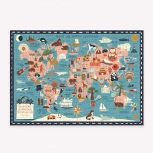Puzzle 1000 Piezas Artistas Rompecabezas - Mapa Ilustrado del Mundo x Josefina Schargorodsky
