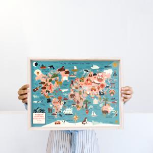 Framed Wall Art Mapa del mundo Ilustrado  - 30x40 cm