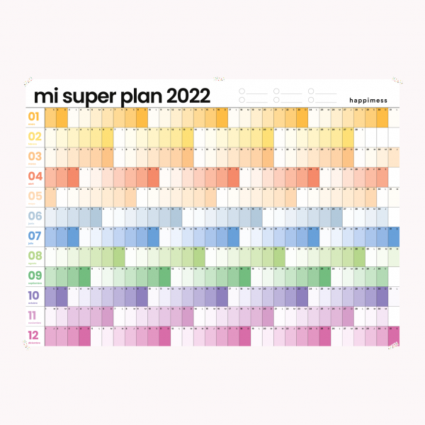 Annual Wall Planner Happimess Colorblock