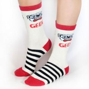 Medias Geek Crudo Rojo Rayas Negras