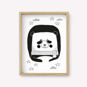 Wall Art Panda Monochrome