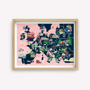 Wall Art Europa Mapa