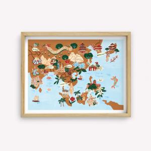 Wall Art Asia Mapa