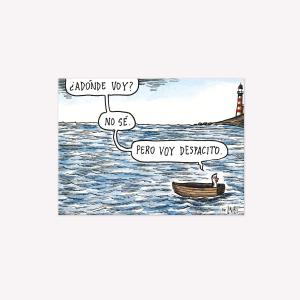 Viñeta imantada Pinguino Bote