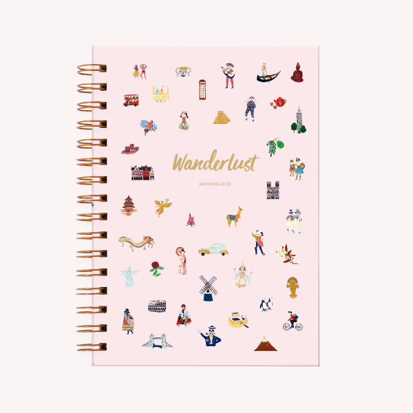 Wanderlust Spiral ruled Hardcover Notebook