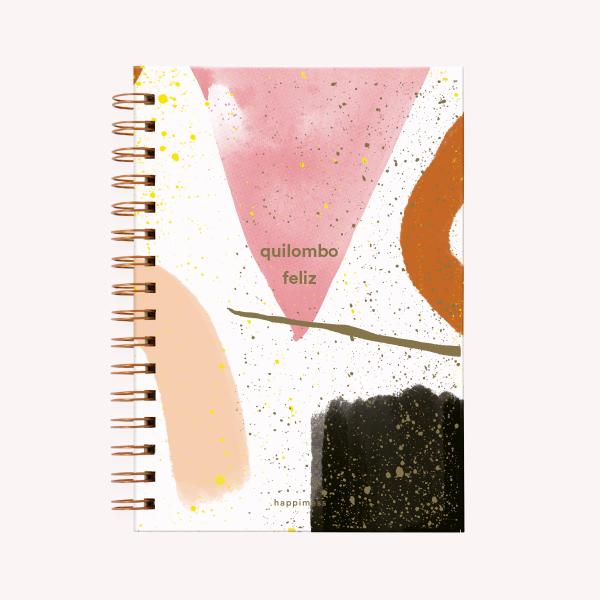 Quilombo Feliz Medium Ringed Notebook Striped